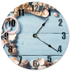 SHELLS BLUE BEACHY Wood Clock - Large 10.5 Wall Clock - 2277