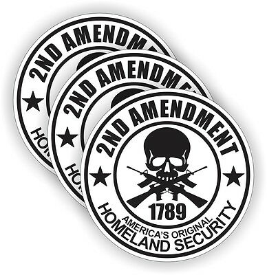 2nd Amendment Hard Hat Stickers Welding Or Motorcycle Helmet Decals 3 Pack