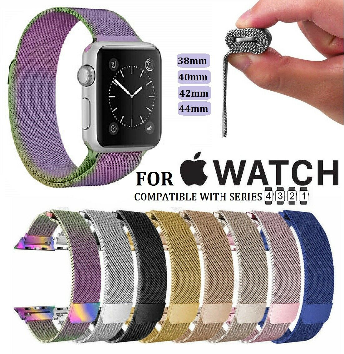 Magnetic Milanese Watch Band iWatch Strap for Apple Watch Series 4 3 2 1 Jewelry & Watches