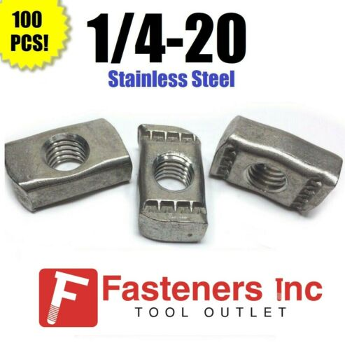 """(QTY 100) 1/4""""-20 Stainless Steel Strut Nuts for Unistrut Channel P3006-1420"""