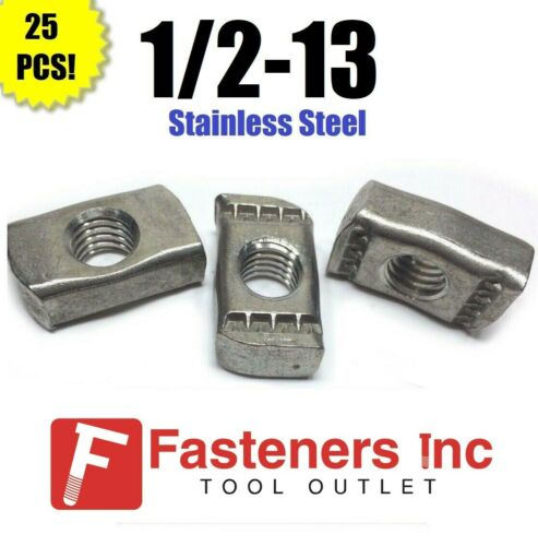 """(#4172S1) 1/2""""-13 Stainless Steel Strut Nuts for Unistrut Channel 25/BOX"""