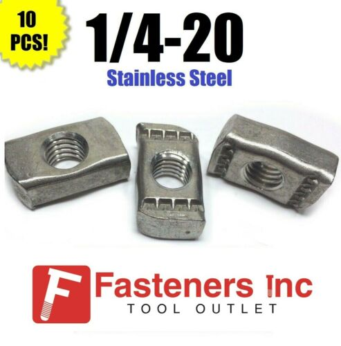"""(QTY 10) 1/4""""-20 Stainless Steel Strut Nuts for Unistrut Channel P3006-1420"""