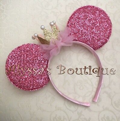 Minnie Mouse Birthday Ears Headband Gold Crown Pink Tulle White Pearls Birthday