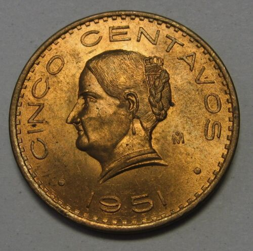 1951 Mexico 5 Centavos Grading Gem BU Red Blazing Luster None Finer Priced Right