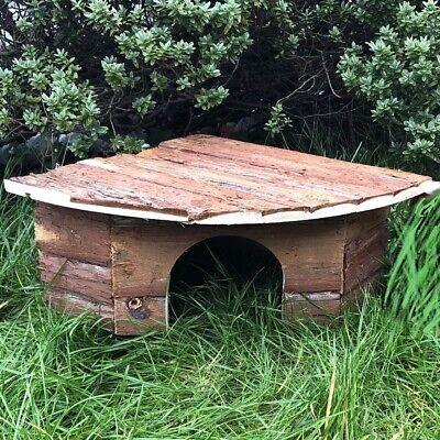 "Dwarf Quail Wooden Corner House 16.5"" Natural Bark Bantam Poultry Shelter Nest"
