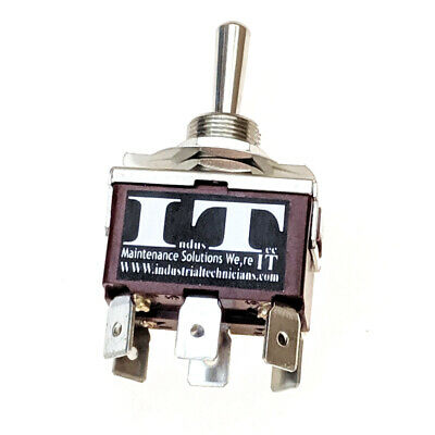 Industec 20 Amp Dpdt - 6 14 Pc Pin Toggle Switch Maintained 3 Position 12v 24v