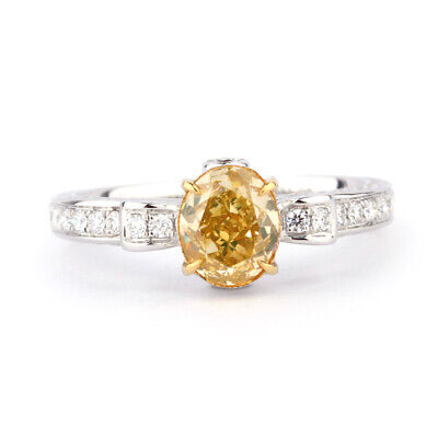 Engagement Ring 1.07 Ct GIA Fancy Intense Yellow Diamond Oval Cut 18K Gold New