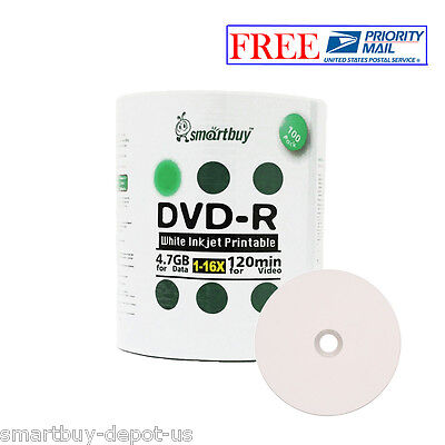 100 Pcs SmartBuy DVD-R DVDR 16X 4.7GB White Inkjet Hub Printable Recordable Disc