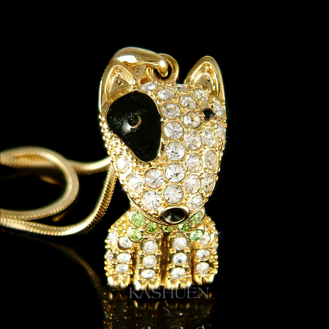 Bull terrier chien bouledogue avec cristal swarovski noir animal collier bijoux