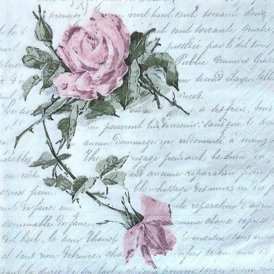 4  Single Lunch Paper Napkins for Decoupage Craft Sagen Vintage Napkin Roses