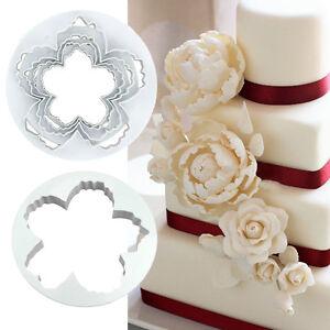 4pcs Peony Petal Mold Flowers Sugarcraft Cake Decorating Cutter Various Sizes