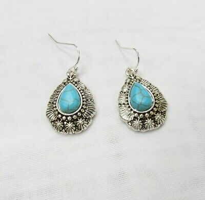 Silver Plated Native American Turquoise Stone Teardrop Dangle Drop Earrings NEW American Pearl Earrings