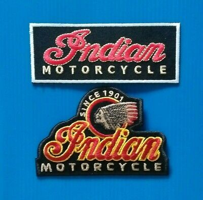 2 Embroidered Sew/Iron On AMERICAN INDIAN MOTORCYCLE Patches W/ FREE SHIPPING