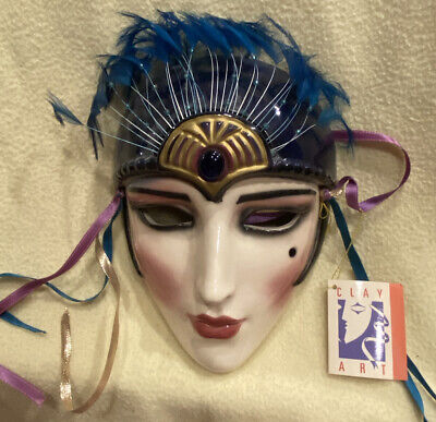 Vintage Clay Art Gypsy Fortune Teller blue gold turquoise Ceramic wall hang Mask