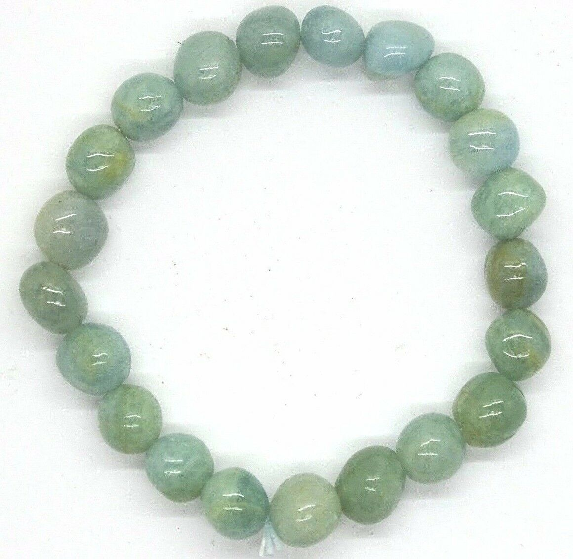 "UNIQUE 7""  8-10MM. FREE-FORM AQUAMRINE STRETCH  BRACELET - BEST PRICE"