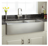 Modern Farmhouse Sink Top Large Combo Industrial Metal 33 Inch Deep Rounded