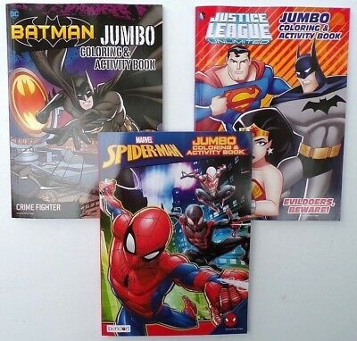 Lot of 3 Jumbo Coloring Books SPIDER MAN, BATMAN, SUPERMAN for Children