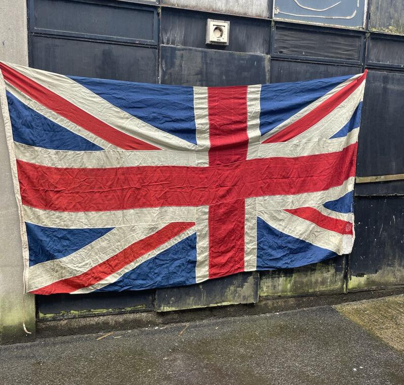 Very Old Panel Stitched British Vintage Union Jack Flag - 10ft X 5ft - WW2 era