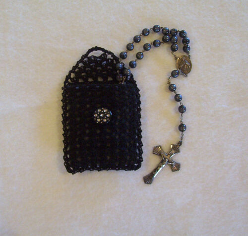 Hand Crochet Black Cotton Rosary Jewelry Pouch