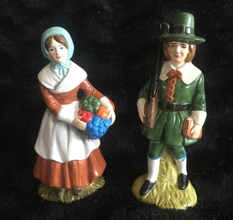 "Vintage Cereamic Pilgrim Couple Figurine Set Pair Thanksgiving 6"" Handpainted"