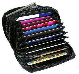 RFID-Security-Wallet-Leather-Accordion-Flip-Credit-Card-Zipper-Scanning-Blocks