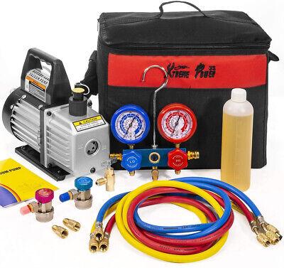 3cfm 14hp Vacuum Pump Hvac Refrigeration Ac Manifold Gauge Can Tap Tote R134 R1