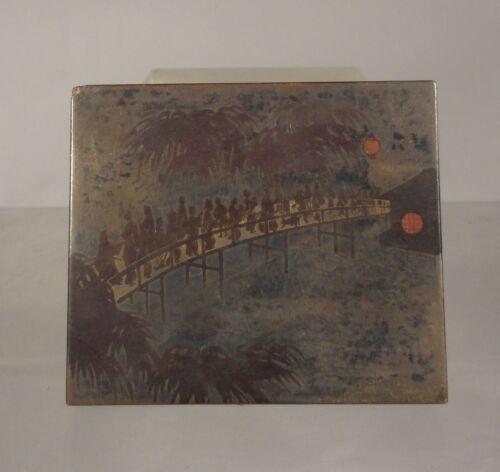 Antique Japanese Silver Gilt Urushi Makie Nashiji Lacquer Box Meiji Case