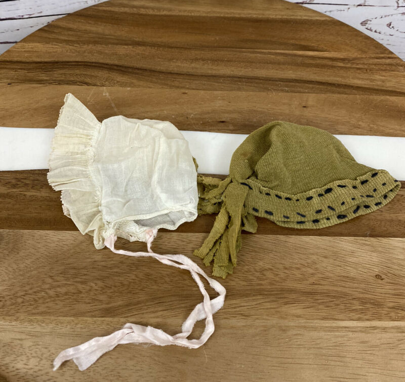(2) 19th Centry Antique Infant Baby BONNET Hat LACE Batiste HAND Stitching