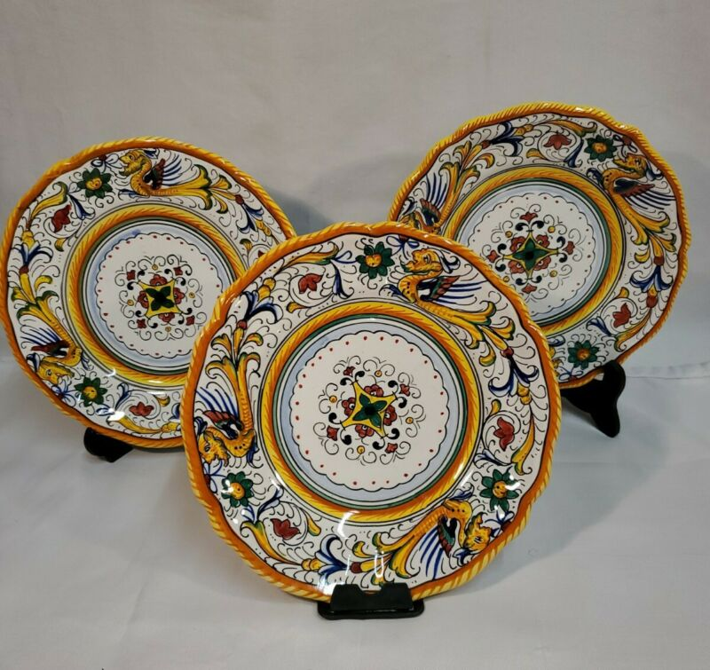 "Vintage Labor Deruta Italy Small Round Abstract Ceramic Plates 7.25"" (Set of 3)"