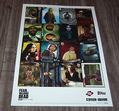 TOPPS FEAR THE WALKING DEAD NYCC EXCLUSIVE UNCUT SHEET OF CARDS PROMO POSTER ART