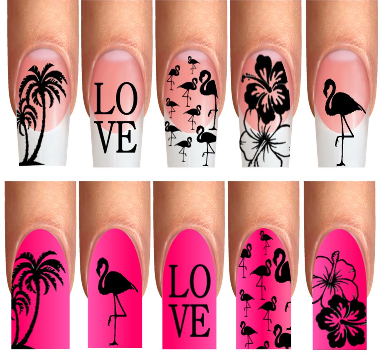 Wrap Nail Art Tattoo Fullcover Design Flamingo Sommer Kolibri Palmen Trend 47-48