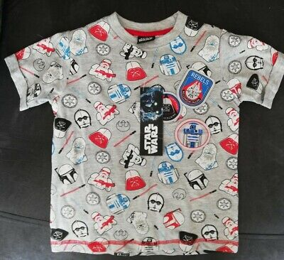 Boys 'STAR WARS' T shirt age 3 BNWT Grey Background