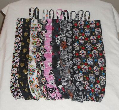 Sugar Skull Design Homemade Fabric Plastic Grocery Bag Holder