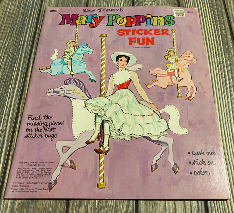 BRAND NEW Vintage 1964 WALT DISNEY Mary Poppins STICKER FUN Color Book Whitman