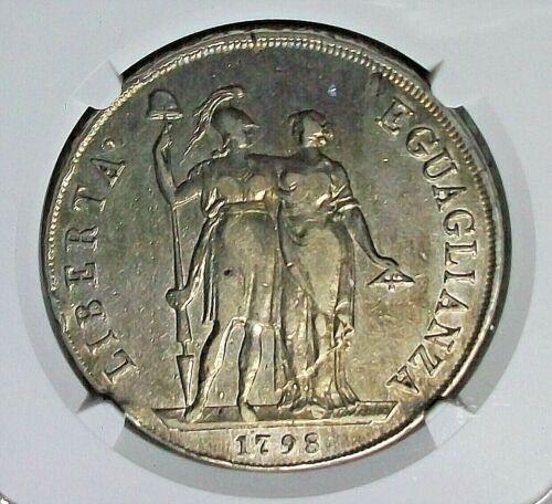 1798 GENOA LIGURIAN REPUBLIC SILVER 8 LIRE ANNO I NGC VF-30