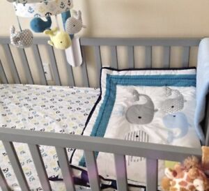 Whales and waves crib bedding