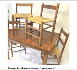 Mid-century table and chairs, table et chaises en orme massif