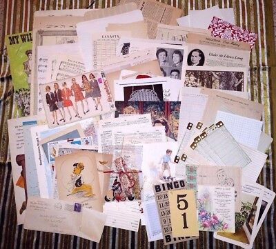 Vintage Ephemera Pack Kit 100+ Pieces Junk Journal Collage Paper Goodie Bag