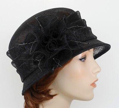 New Church Kentucky Derby Wedding Sinamay Ascot Cloche Dress Hat 1711 Black