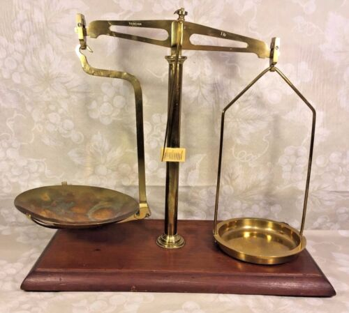 Antique Brass Balance Scale Mounted on Wood Base Saddles are with the Scale! 1Lb