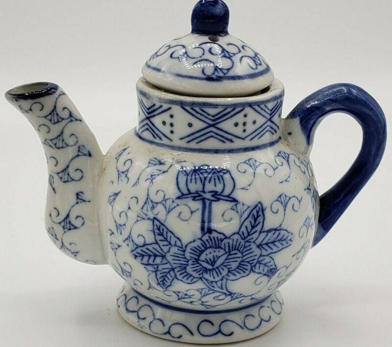 Miniature Tea Pot  Blue & White flowers 3 1/2 tall ~FREE SHIPPING~
