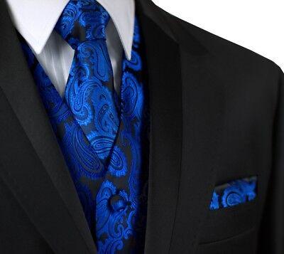 ITALIAN DESIGN ROYAL BLUE PAISLEY FORMAL TUXEDO VEST, TIE & HANKIE -