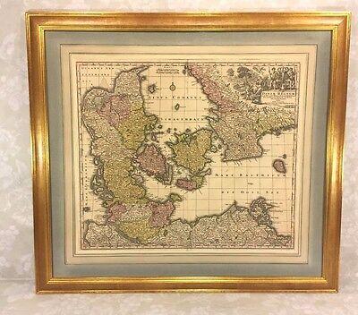 Map Of The Kingdom Of Denmark Titled  Dantae Regnum  By Matthaus Seutter