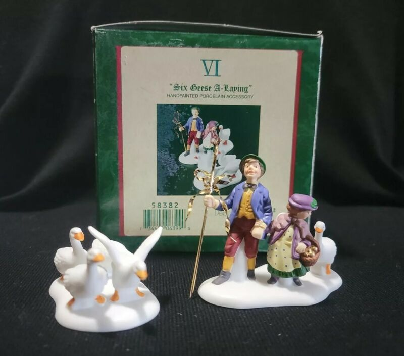 Dept 56 Heritage Village 12  Days Of Christmas SIX GEESE A LAYING