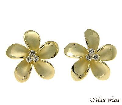 - 925 Sterling Silver Yellow Gold Hawaiian Plumeria Flower 3 CZ Stud Post Earrings