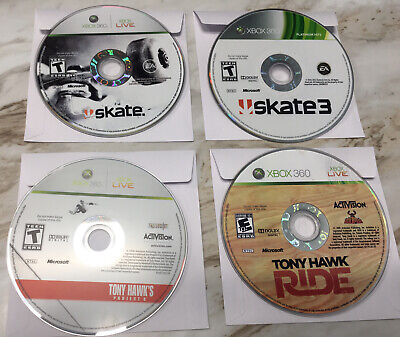 Lot of 4 Skateboarding Games Skate 1 + 3 + Tony Hawk's Xbox 360 Disc Only TESTED