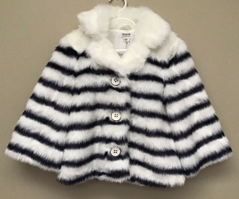New Juno Valentine Janie & Jack Faux Fur Coat Jacket Girls 5-6 White Stripe