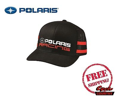 (POLARIS RACING CLASSIC HAT TRUCKER CAP BASEBALL RZR RMK SPORTSMAN ACE BLACK RED)