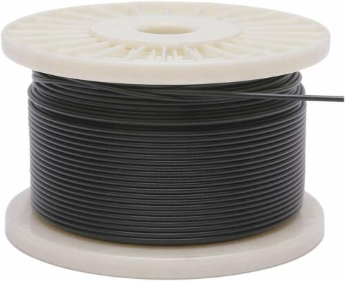"""Vinyl Coated Stainless Steel 304 Cable Wire Rope 7x7, Black, 3/64"""" - 1/16"""""""