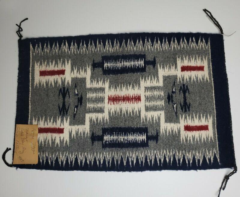 "Louise Yazzie Mini Navajo Rug/ Wall Hanging ""Storm"" Pattern White Clay, Arizona"